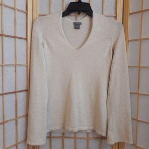 Ann Taylor Silk Cashmere Gold Metallic Sweater